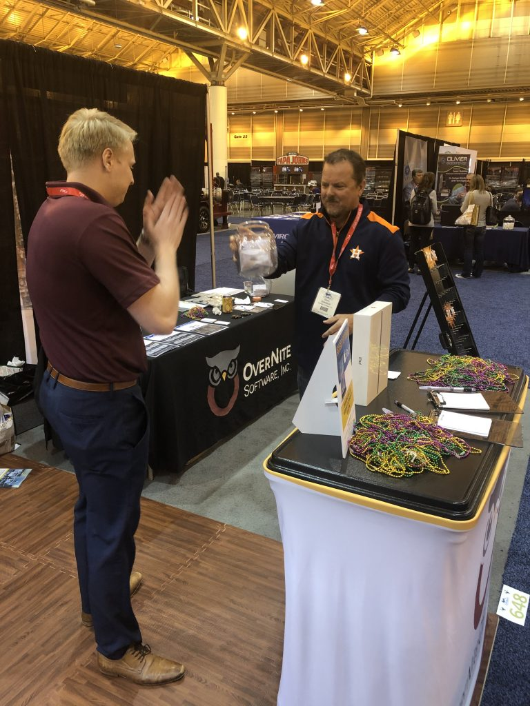 OSI Sales Manager Kevin Snedecor and Sales Representative Elliot Rowe at the OSI booth at Clean Gulf 2019.